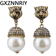 цены GXZNNRIY Antique Gold Leopard Head Earrings for Women Rhinestone Pearl Drop Earrings 2019 Vintage Earings Jewelry Accessories