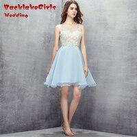Backlakegirls Свадебные Новый Стиль длиной выше колена, Мини Милая Бисероплетение Кристалл вырез органзы Коктейльные Одежда для вечеринок Индиви