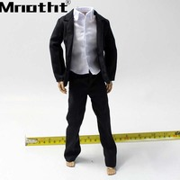1:6 Scale Men's black suit With Pants White Skirt Clothes Model for 12inch Male Soldier Action Figure Toys m5