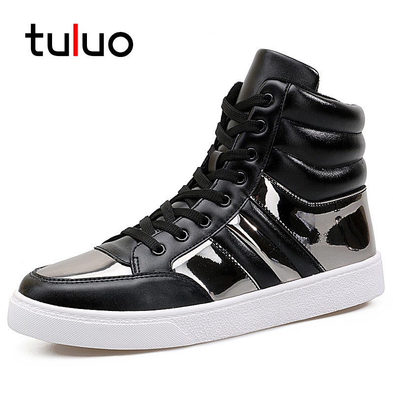 TULUO 2018 Brand New Fashion Sequin Casual Shoes Men Breathable Mens Sneakers Outdoor Trekking High Top Mens Flat Shoes Hot Sale hot sale new breathable mesh shoes balsen fashion women casual shoes luxury brand casual mens women flats shoes mens trainers page 1