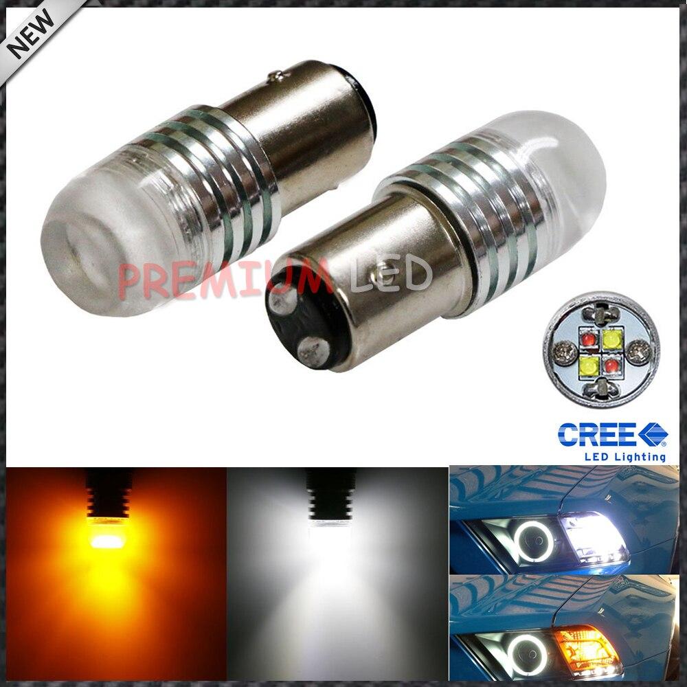 IJDM 1157 2057 2357 20 w Haute Puissance Super Lumineux Blanc/Ambre 360 Degrés Brillance Switchback LED Ampoules pour Des Clignotants Avant