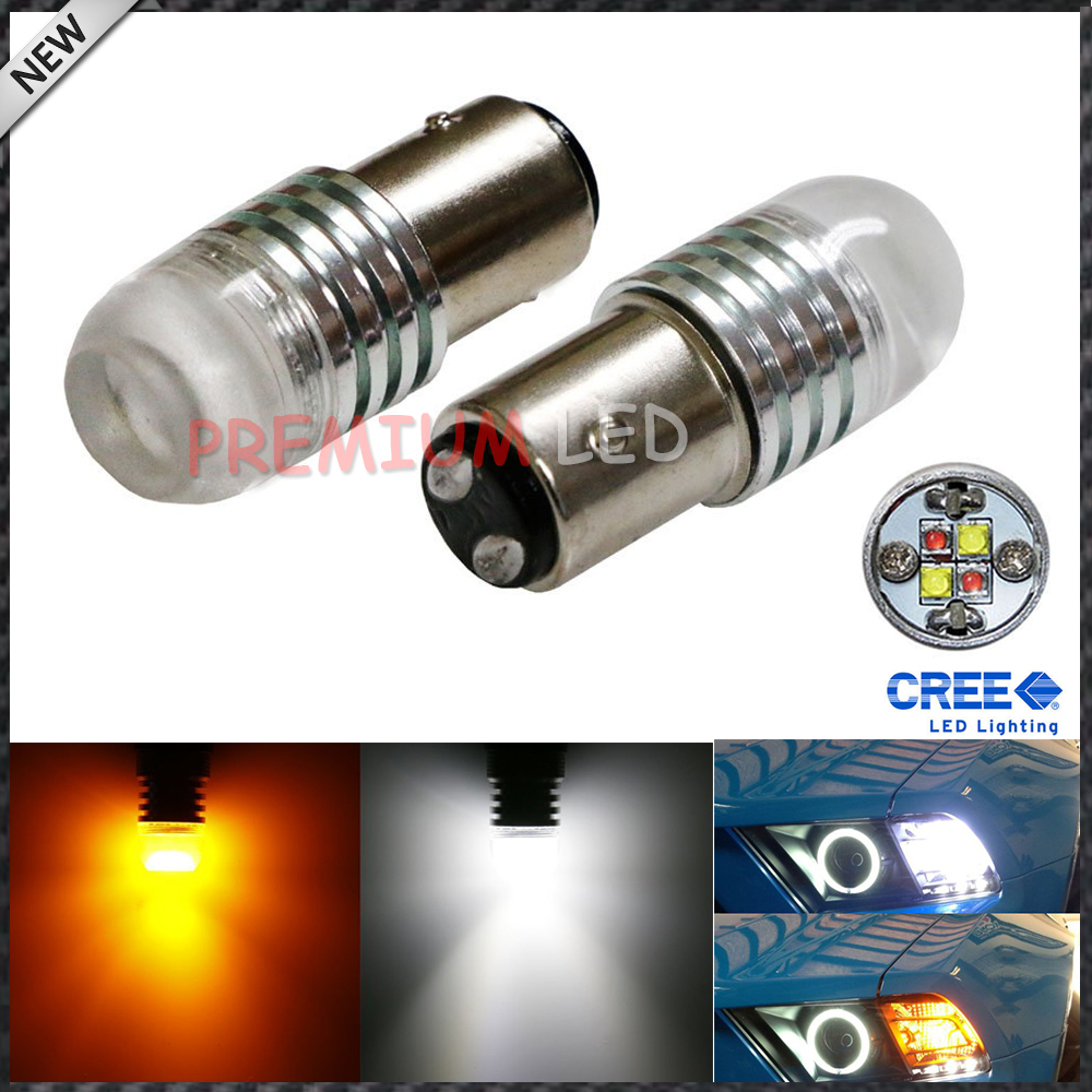 iJDM 1157 2057 2357 20W High Power Super Bright White/Amber 360-Degree Shine Switchback LED Bulbs for Front Turn Signal Lights