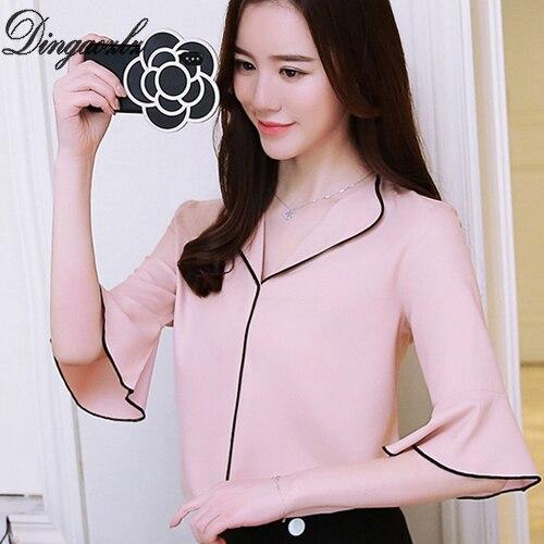 Dingaozlz casual clothing women tops elegant female chiffon OL shirt fashion ruffle chiffon blouse korean 2018 new