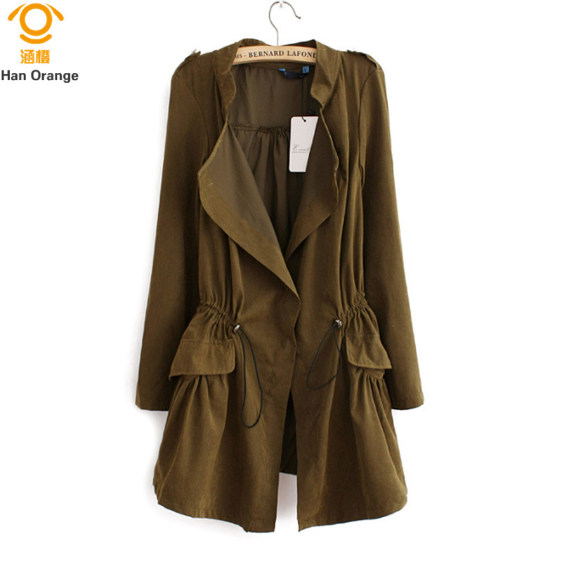 HanOrange 2018 Slim Waist Long Super Thin All-match Fashion Lapel Single Button Women   Trench   Coat M/L/XL Khaki/Army Green/Blue