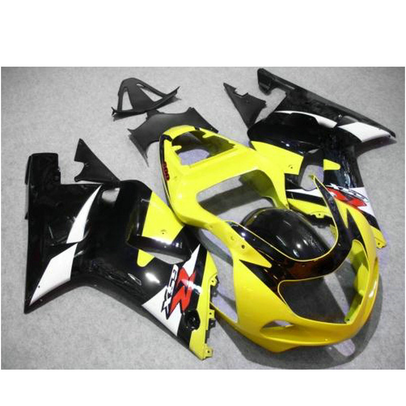 ABS plastic motor road Injection fairing for SUZUKI K1 2001 2002 2003 GSXR600 GSXR 750  01 02 03 yellow black body fairings kit injection molded abs plastic bodywork frame fairings kit for suzuki gsxr 750 yellow black gsxr racing 2000 2001 2002 2003