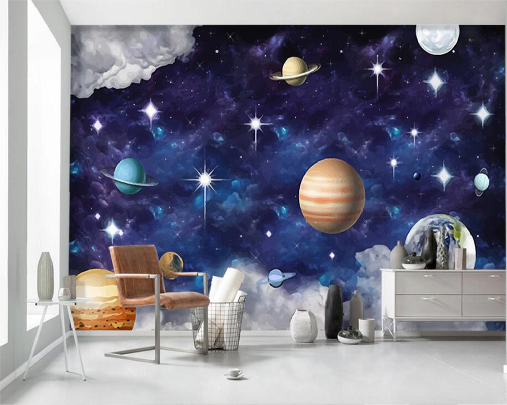 Custom 3d Wallpaper Murals Hand Painted Universe Galaxy Planet Children s Room Bedroom Background Wall 3d