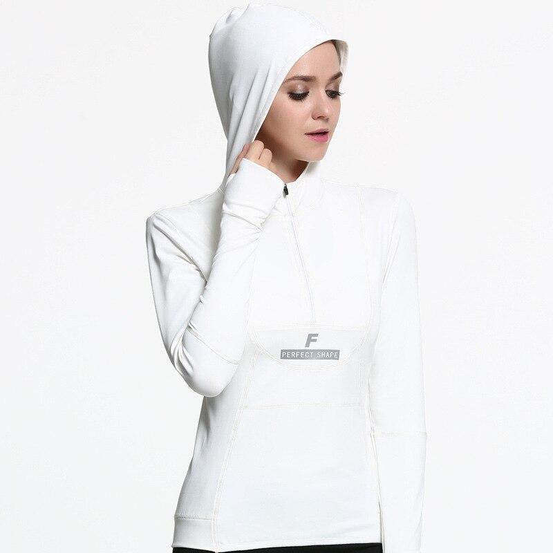 Automne Femmes Sport hauts à manches longues Veste De Yoga veste à capuche zippé À Séchage Rapide T-shirt avec le Chapeau
