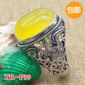 S925 silver inlaid ring jewelry gifts retro Silver Natural Agate Mens open hollow ring