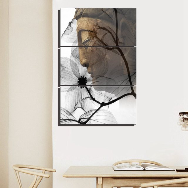 Transparent Buddha Wall Art Black And White Lotus Flowers Wall Art ...