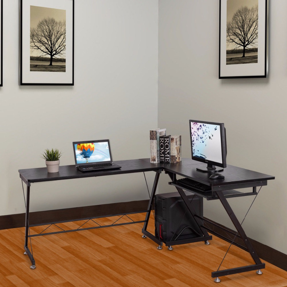 Goplus L-Shape Corner Computer Desk with Keyboard Shelf PC Laptop Table Study Workstation Modern Home Office Table HW56544