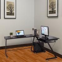 Goplus L Shape Corner Computer Desk with Keyboard Shelf PC Laptop Table Study Workstation Modern Home Office Table HW56544