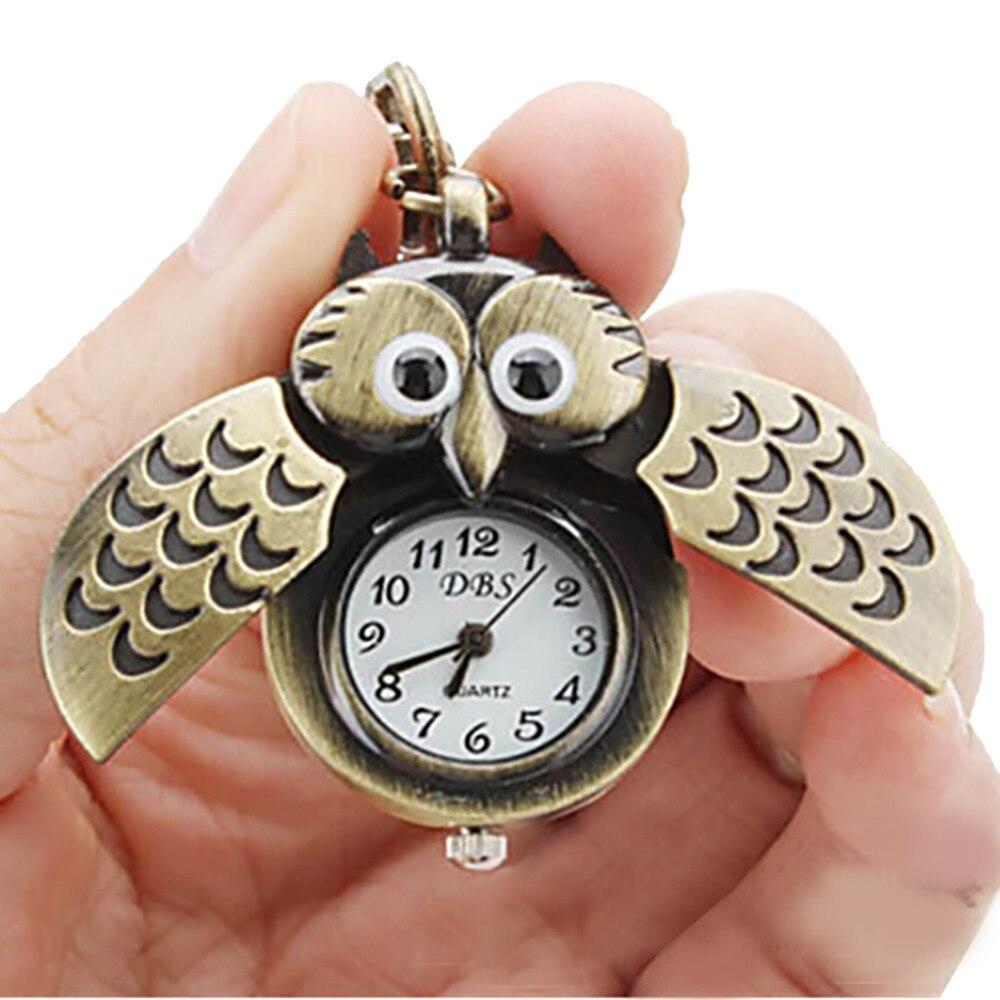 Owl Retro Watch Key Buckle Watch Necklace Pendant Watch Jewelry Quartz world of warcraft pocket watch