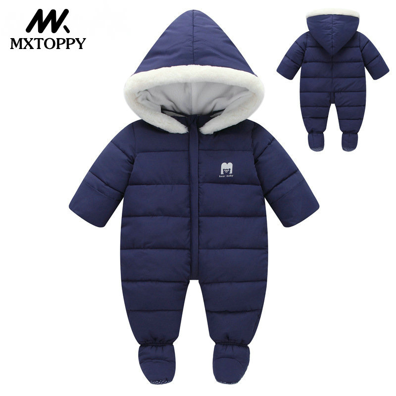 Baby Clothes 2018 New Winter Hooded Baby Rompers Thick Cotton Outfit Newborn Jumpsuit For Children Baby Costume