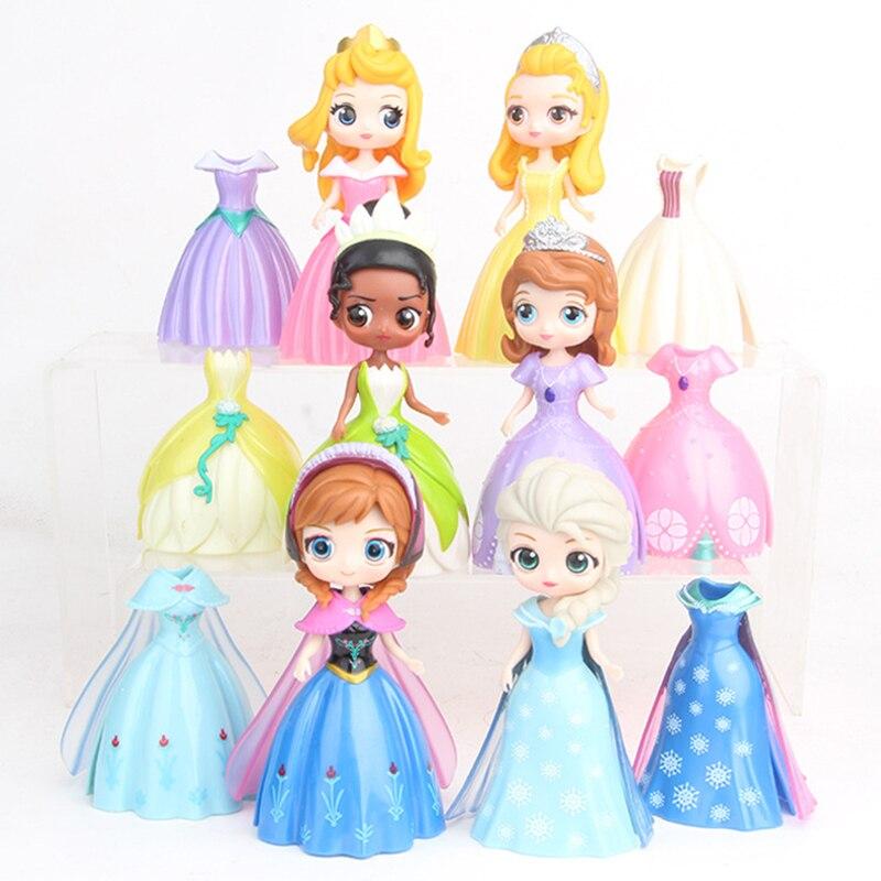 12pcs/set Snow White Mermaid Ariel Princess Belle Cinderella Figure With Magic Clip Dress Figure Toy For Children
