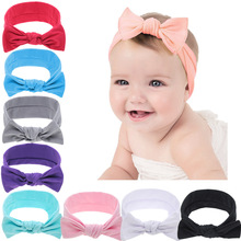 Yundfly Knotted Newborn Headband Children Hair Accessories Sweet Cotton Bow Knot Headwrap Rabbit Turban