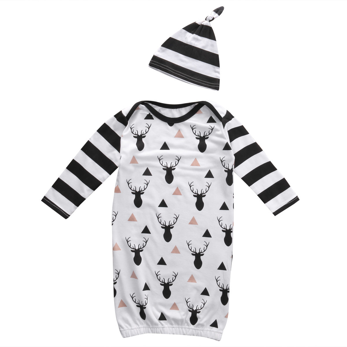 2pcs Newborn Infant Toddler Kids Baby Boy Girl Clothes T shirt Rompers Hat Sleepwear Blanket Sleepers Outfit Set