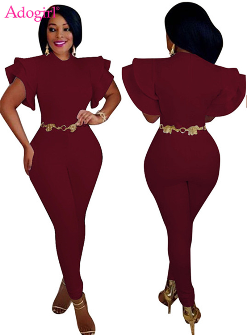 Adogirl 2018 New Butterfly Sleeve Bandage   Jumpsuit   Trendy Cascading Ruffle Skinny Rompers Plus Size Women Combinaison Overalls