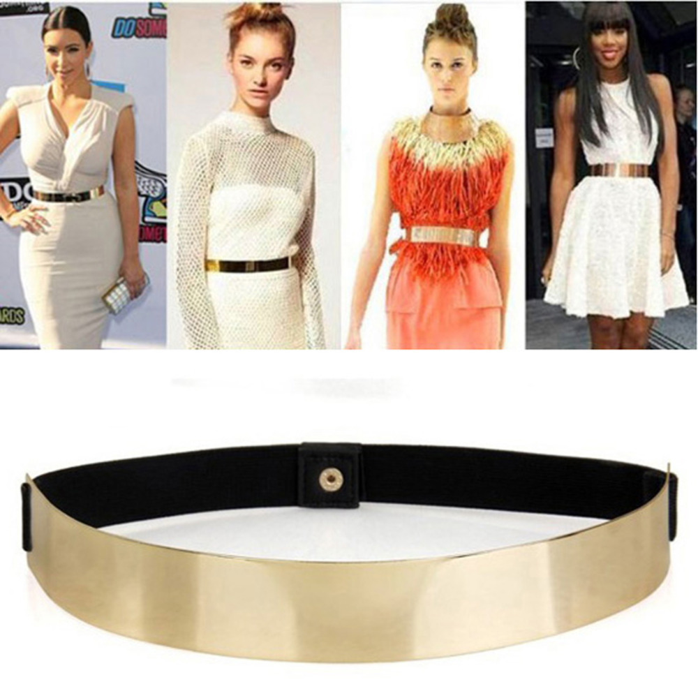 Sexy Lady Women Elastic Mirror Metal Waist Belt Metallic Bling Gold Plate Wide Band For Women Female Dress Accessories