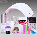 Belen Nail Art Tools Set Kits SUN9s Sun9c 24W UK/US/EU Plug LED UV Lamp Nail Dryer with Manicure Tools