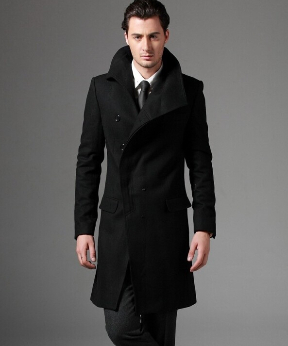 2018 New Autumn Covered Button Wool Coat Men Fit Slim Mens