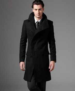 2016 new autumn Covered button wool coat men fit slim mens pea coat woolen fashion handsome coats cashmere plus size S – 3XL
