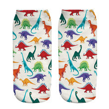 Women Christmas Socks Casual Unisex Design Happy Socks Dinosaur Zoo Party Printed Funny Socks New Unisex Low Cut Ankle Socks(China)