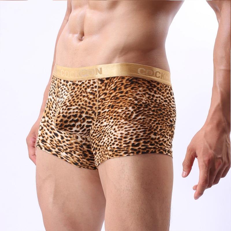 Sexy Underwear Boxer-Shorts Convex-Pouch Leopard Plus-Size Low-Waist M-XXL Cuecas Ropa-Interior