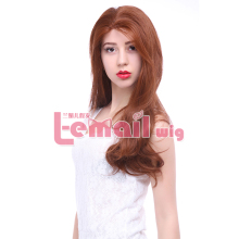 Free Shipping Heat Resistant Cheap Long Big Wavy Light Brown Synthetic Lace Front Wig
