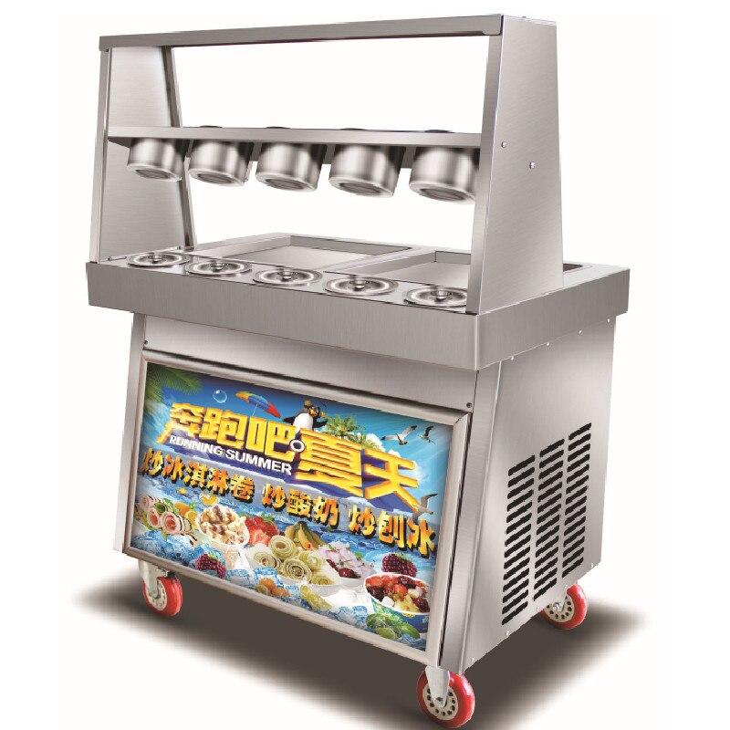 Livraison gratuite Double casseroles carrées avec 5 réservoirs de garniture de Machine à rouleaux de crème glacée frite avec réfrigérant R410a