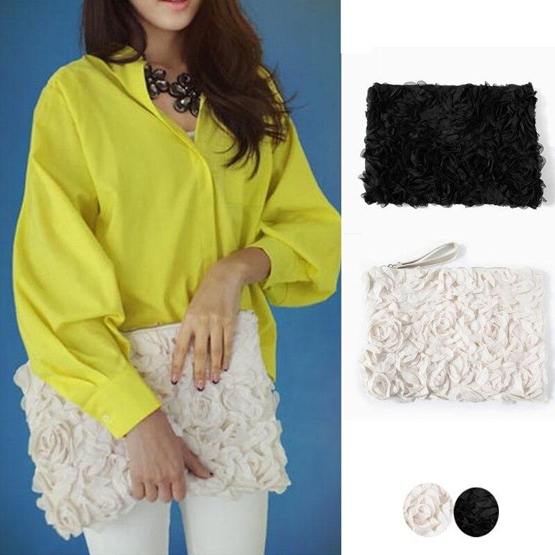 100pcs/lot Women Handbags Designers Brands Lady lace rose Day Clutch Brief Fresh Flower Evening Bag Envelope Bag