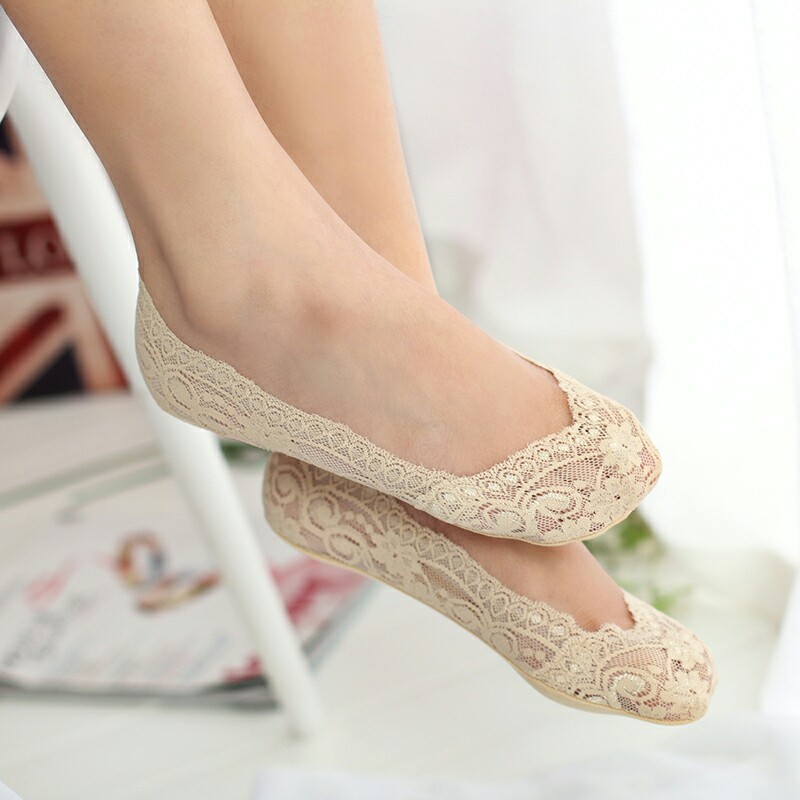Sale Lace Boat Thick   Socks   Summer Ankle Women Lace Slipper Seamless Girls Low Cut Boat Thick Invisible Women   Socks
