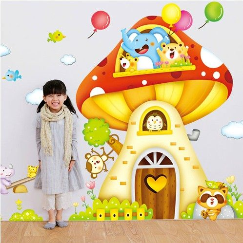 Online Shop muurstickers Big mushroom house cartoon Wall Sticker for ...
