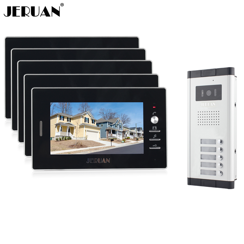 JERUAN New Apartment Intercom System 7`` Color Video Door Phone intercom System video intercom  For 5 monitors 1V5 Free shipping my apartment