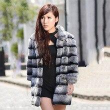 New 2017 winter Real Fur Chinchilla Rex Rabbit Fur Outwear Jacket Natural Fur Coat Christmas Woman Ladies best gift CW3252