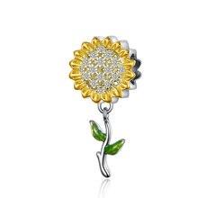 MOWIMO желтый камень Подсолнух талисманы серебряные бусины 925 пробы подходит Пандора браслет кулон DIY ювелирных изделий BKC1211