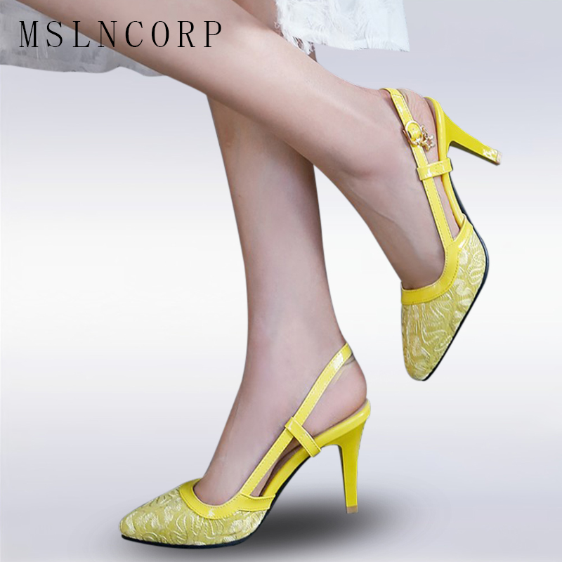size 34-48 Women Pointed Toe High-heeled Sandals sexy Lace high heels Comfortable Women's Pump Shoes baotou shoes Roman shoes the new fashion sexy high heeled pointed shoes lace up women sandals