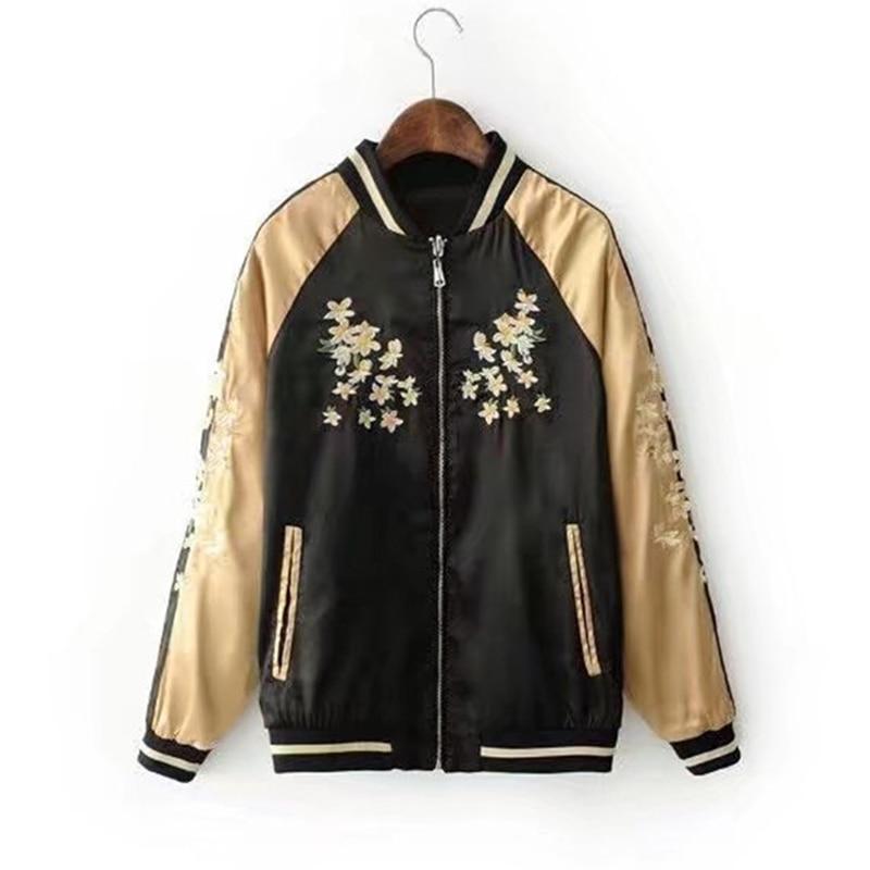 Fashion Vintage Embroidery Basic Jacket Short Coat Autumn Street Satin Bomber Jacket Women Reversible Baseball Jackets Top 2749