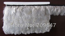 Wholesale!10Yards/lot Height 5-6cm Pinstripe Silver Pheasant feather fringe  natural color trimming