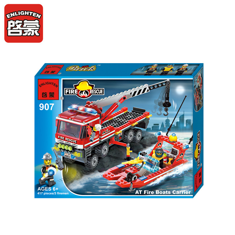 ENLIGHTEN Fire Fighting Series All Terrain Carr Toy Bricks Educational Toys Bricks Imagination Practical Ability Holiday Gifts linking landscape and species
