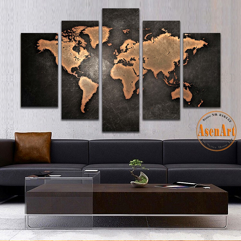 Aliexpress Com Buy Unframed 3 Panel Vintage World Map: 5 Panel Vintage World Map Canvas Painting Prints On Canvas