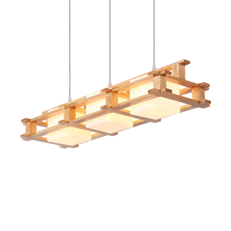 Nordic Retro 3 Lights Wood Pendant Lamp E27 Modern Simple Glass Lampshade Restaurant Bar Hangling Light Fixture Lighting PL587 nordic modern wood glass pendant lights simple art coffee restaurant hanging lamp living bedroom pendant lamp for home lighting