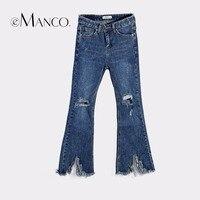 E-manco Ausgezeichnete Elastizität Ganzkörperansicht Jeans für Frauen Aushöhlen & Quaste Regelmäßige Beliebten Hosen frauen Kleidung