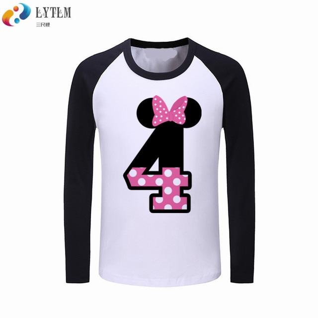 LYTLM 4th Birthday Girl Baby Shirt Happy Tee Vestidos Childrens T Shirts Long Sleeve Boys Girls