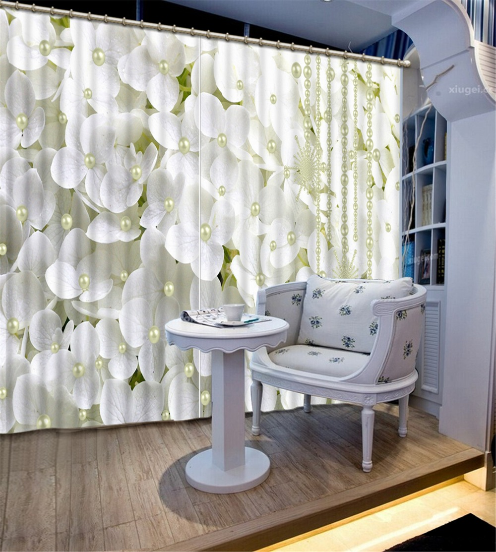 Fashion Customized 3D Curtain Blackout Curtain Fabric White Pearl Flower Curtains For Bedroom Decor Tapestry Wall Carpet DrapesFashion Customized 3D Curtain Blackout Curtain Fabric White Pearl Flower Curtains For Bedroom Decor Tapestry Wall Carpet Drapes