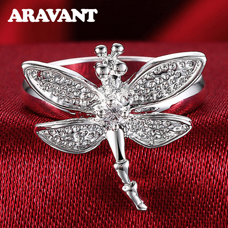 Ring Dragonfly Jewelry-Rings Zircon Wedding Silver-Color Women for Fashion 925