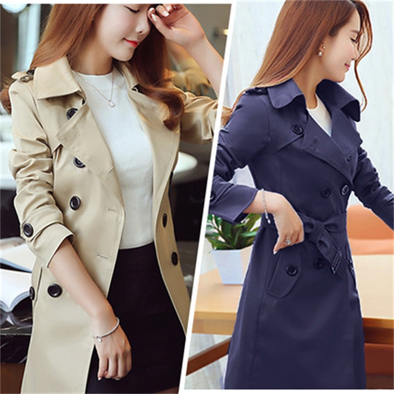 Spring and autumn women's new double-breasted   trench   coat in the long section Korean Slim large size solid color Windbreaker