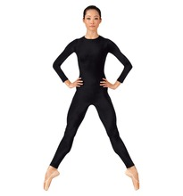 Women Lycra Spandex Unitard Bodysuit One Piece Long Sleeve Crew Neck Full Body Yoga Unitard Dance Costumes Skin Tight Jumpsuit