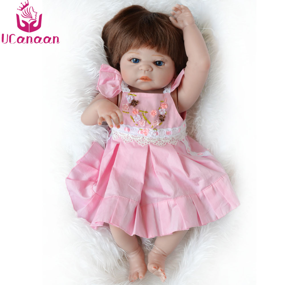 UCanaan 55cm Handmade Silicone Doll Reborn 22'' Full Vinyl Toys For Children Baby Born Kids Boneca Reborn Dolls For Girls ucanaan 1 3 bjd doll reborn girls dolls 19 jointed body chinese style maxi long dress wig makeup dressup diy sd kids toys