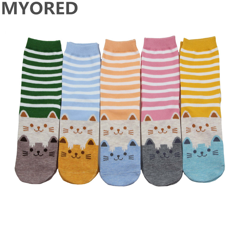MYORED women   socks   cotton cartoon colorful stripes cute cat ankle   socks   for female girls lady sexy crew short animal winter   sock