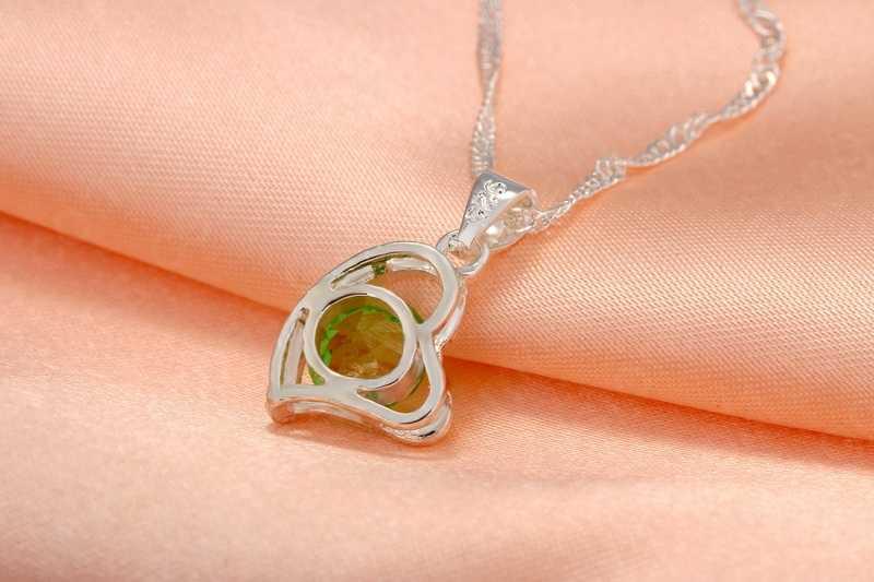 925 Sterling Silver Berongga Jantung Kalung dan Drop Earringsset Gadis Ulang Tahun Hadiah Perhiasan Set Grosir Harga Pabrik